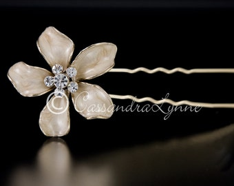Gold Bridal Flower Hair Pin Enameled Leaves Rhinestone Center Wedding Accessories