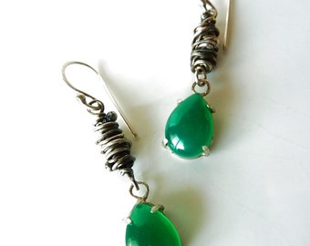 925 Silver earrings and jade