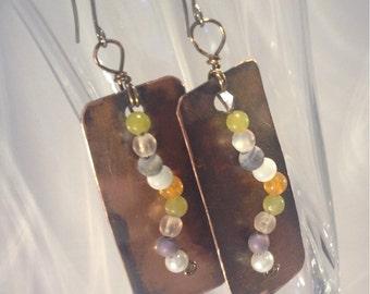 Handmade Copper Jewelry, Copper Wire Wrappped Earrings, Gemstone earrings, Metalworked Jewelry, Copper earrings