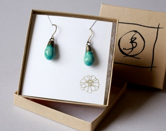 Turquoise Dangle Earrings Sea Blue Earrings Ocean Blue Earrings Long Drop Earrings