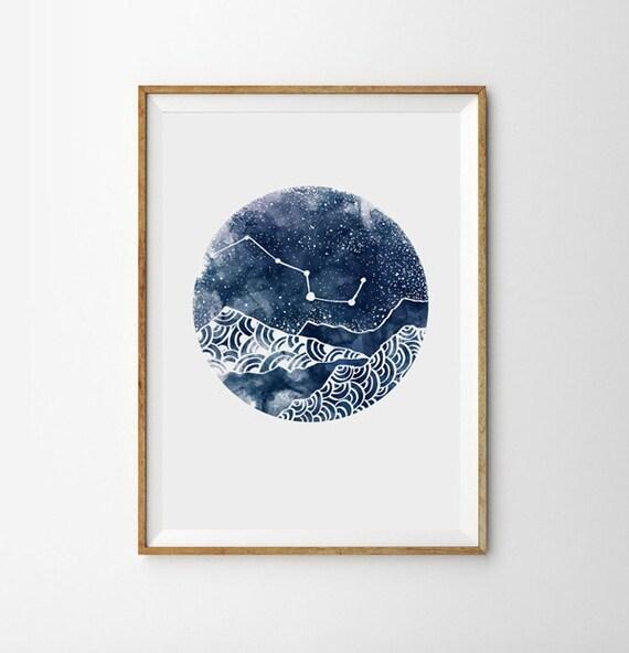 Constellation Print Night Landscape Geometric Mountains Art