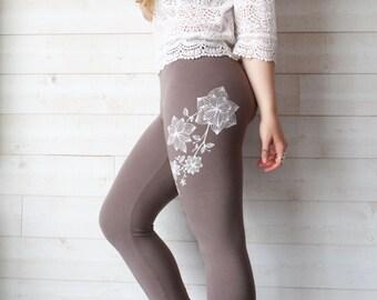 Paeonia - Flower print cacao leggings