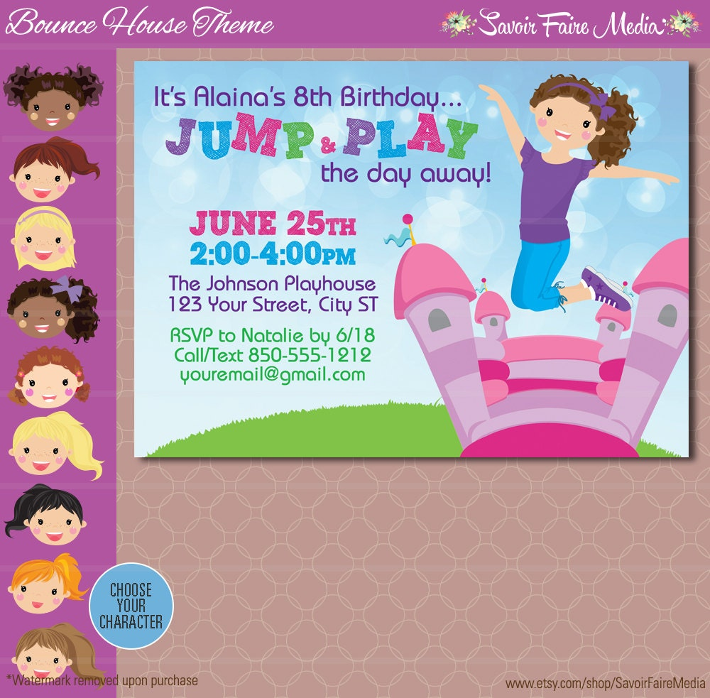 bounce house party invitation inflatable birthday invitation invitation bouncing bounce printable jump birthday party 128270zoom
