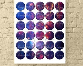 Galaxy Milky Way Digital Collage Sheet * 1.5 Inch Cosmic Circles for Jewelry & DIY Crafts * Printable, Instant Download!