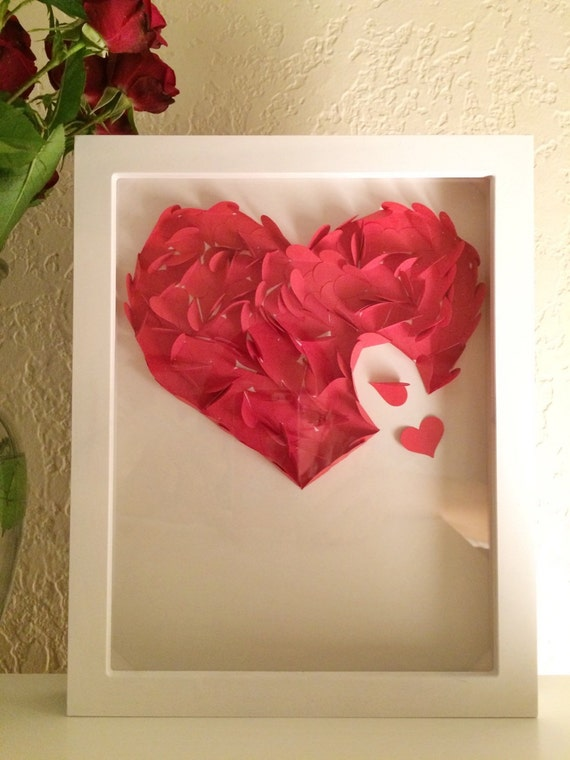Custermized Handmade 3D Red Heart Collage Art in a Shadow Box