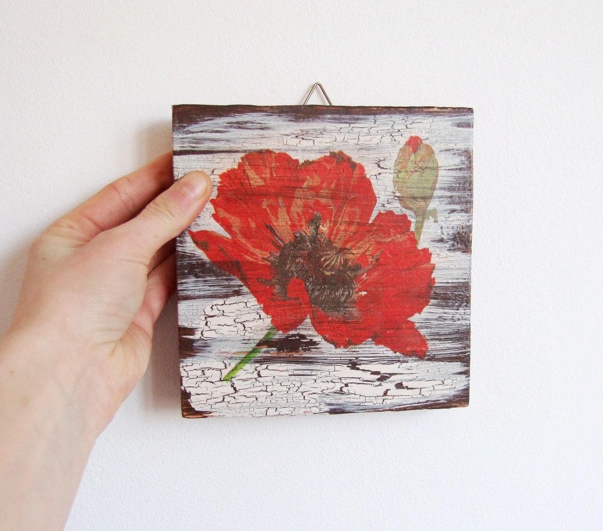 Red Poppy Wall Decor : Poppy wall decor red poppies art decoupage by woodlandhut