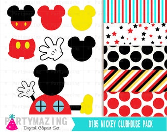 Clip Art Mickey Mouse Clubhouse Clipart mickey mouse clubhouse clipart etsy set and digital paper pack inspired instant download party collection d195