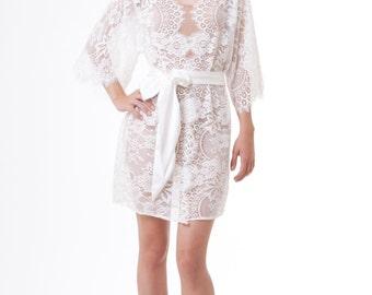 Getting Ready Bridal Boudoir French Lace Kimono Robe Floral Ivory S