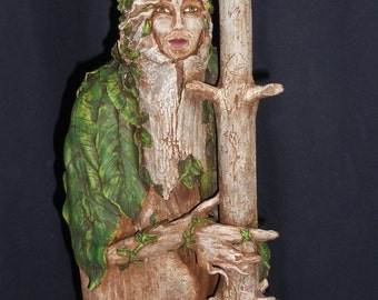 Driftwood Sculpture Forest Lady with Owl