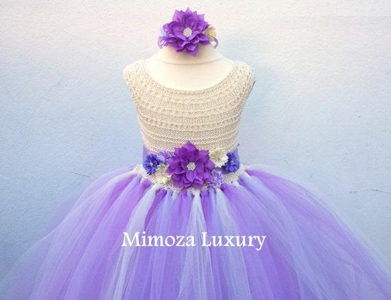 Cream Lavender Flower girl dress, tutu dress bridesmaid dress, princess dress, crochet top tulle dress, knit top tutu dress lavender lilac