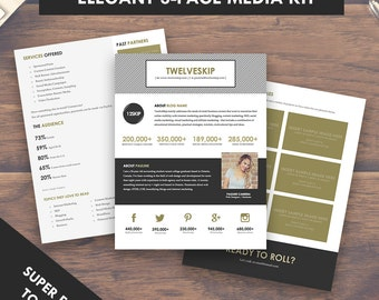 Elegant Blog Media Kit Template, Press Kit (3 Pages)