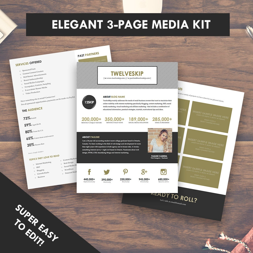 Elegant blog media kit template press kit 3 pages for Advertising media kit template