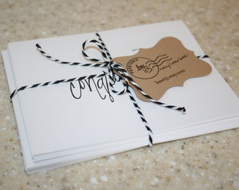 "Occasion Set: 8 hand-lettered white occasion notecards with envelopes (4.25"" x 5.5"")"