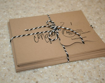 "Occasion Set: 8 hand-lettered brown kraft occasion notecards with envelopes (4.25"" x 5.5"")"