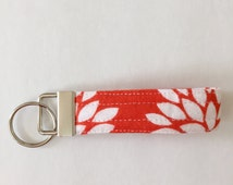 BLACK FRIDAY SALE!!! Wristlet Fabric Key Fob Orange and White Flower / Small and Large Size
