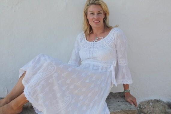 Witte ibiza jurk lang