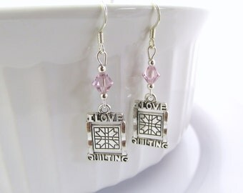 I Love Quilting Earrings- choose a birthstone, Quilt Jewelry, Quilt Gift, Quilter Birthstone, I Love to Quilt, Gift for Quilter, Quilt Charm