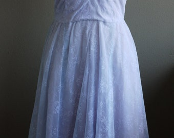Vintage 1950s Dress- Gorgeous Light Baby Blue Nylon Dress with Pretty Silver Brooch Accessory- Small
