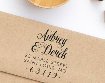Return Address Stamp, Wedding Invitation Address Stamp, Calligraphy Address Stamp, Personalized Return Address Stamp, Address Stamp No. 82