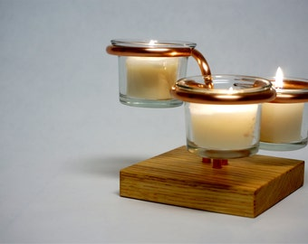 Table Top Triple Votive Candle Holder with a Square Oak Base