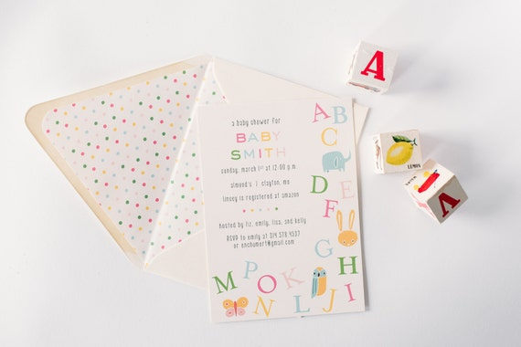baby shower invitation  - alphabet ABC - customizable (sets of 10)  //  lola louie paperie
