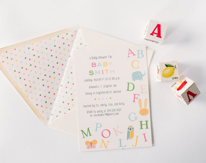 baby shower invitation  - customizable (sets of 10)  //  alphabet ABC boy girl gender neutral animals farm zoo baby shower invite