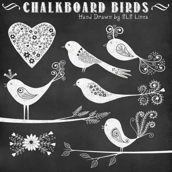 chalkboard birds, branches and hearts hand drawn, digital love birds graphics commercial use, wedding clipart