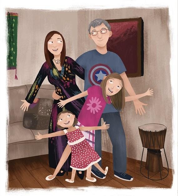 articles similaires portrait de famille personnalis s illustration personnalis portrait de. Black Bedroom Furniture Sets. Home Design Ideas