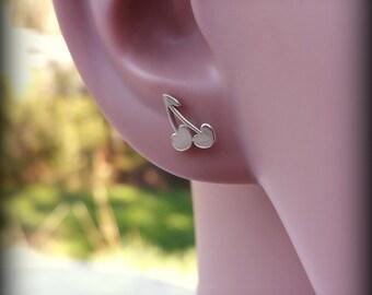 Cherry earrings, Sterling silver cherries post earrings