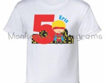 Personalized Super Hero Birthday Shirt