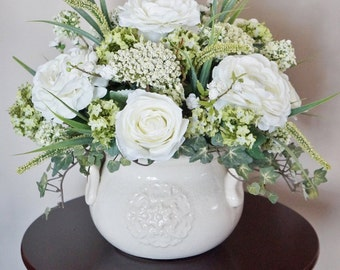 Flower Arrangement, Home Decor, Ranunculus, Roses, White Arrangement, Silk Floral Arrangement, Floral Decor, Center Piece, Large Arrangement