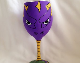 Video Game Dragon Inspired Hand Painted Wine Glass