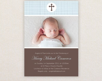 Boys Photo Christening/baptism Invitations. I Customize, You Print.