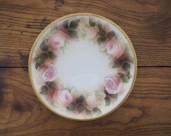 Antique Reinhold Schlegelmilch Tillomitz Plate with roses, gold trim-free shipping