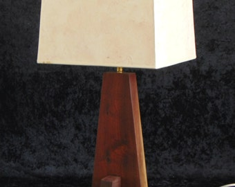 Walnut Table lamp in Walnut  slab with Hand Laid up paper shade,