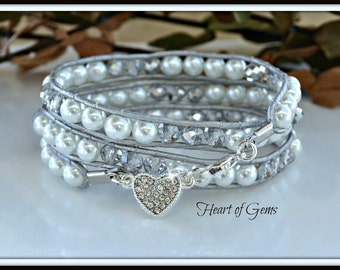 White Pearl and Silver Crystal Wrap Bracelet