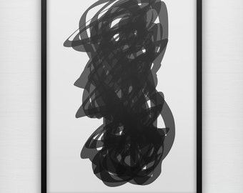 Trapped - Black and white abstract wall art print poster