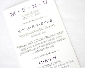 Wedding Menu, Contemporary Printed Wedding Menus (Menu 1)
