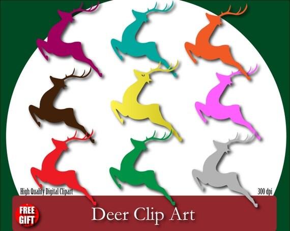 Deer Clipart Gold deer cake topper Deer print Deer wall decal Rudolph the red nosed reindeer Baby deer decoration Deer clip Art Deer Digital