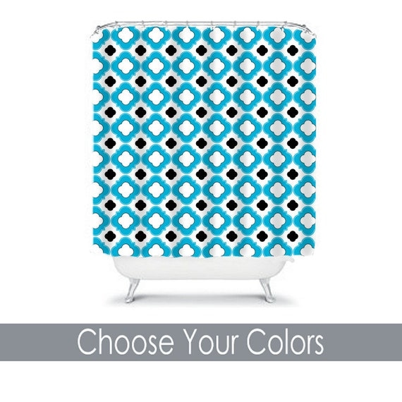 Pattern shower curtain quatrefoil pattern by honeydesignstudio for Quatrefoil bathroom decor