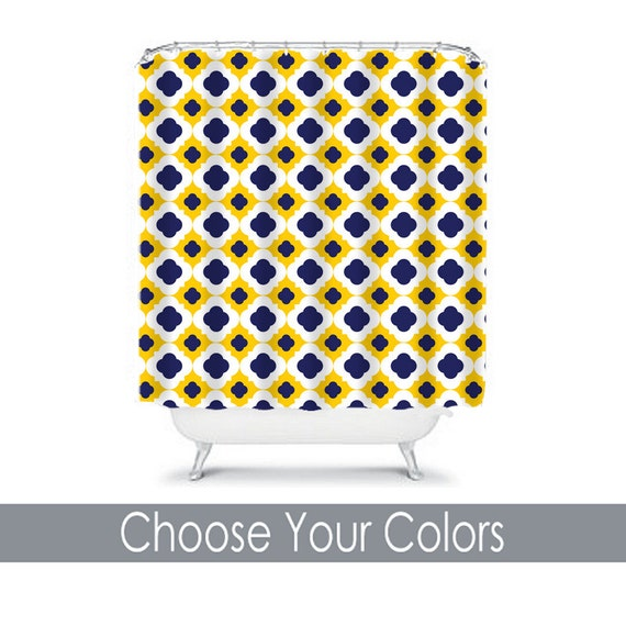 Navy Blue And Yellow Curtains: Items Similar To Yellow Navy SHOWER CURTAIN Quatrefoil
