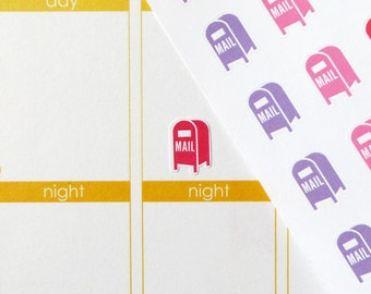 64 Mailbox Stickers for Erin Condren Planner, Filofax, Plum Paper