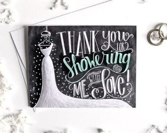Bridal Shower Thank You Card, Bridal Thank You Card, Bridal Shower, Chalkboard Art, Wedding Thank You, Thank You Bridal Shower, Chalk Art,