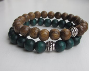 Wood bead bracelet, Mens bracelets, simple bracelet, wooden bead bracelet, green bracelet, UK Seller