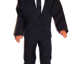 Male Fashion Doll Clothes-Black Jacket, Pants & Tie with White Shirt