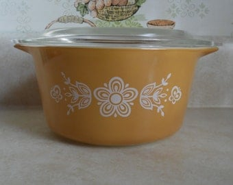 "PYREX CASSEROLE  with Lid in the  1st ""BUTTERFLY Gold"" Pattern #473-B"