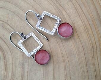 Rose quartz earrings , Square Earrings , sterling silver ,  handmade , Textured silver , Oxidized silver , Pink Earrings