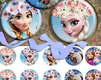 Frozen in the Flowers -  Bottle Cap Images 4x6 Digital Collage INSTANT DOWNLOAD