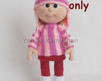 Doll in sweater and hat, crochet and knitting PDF pattern