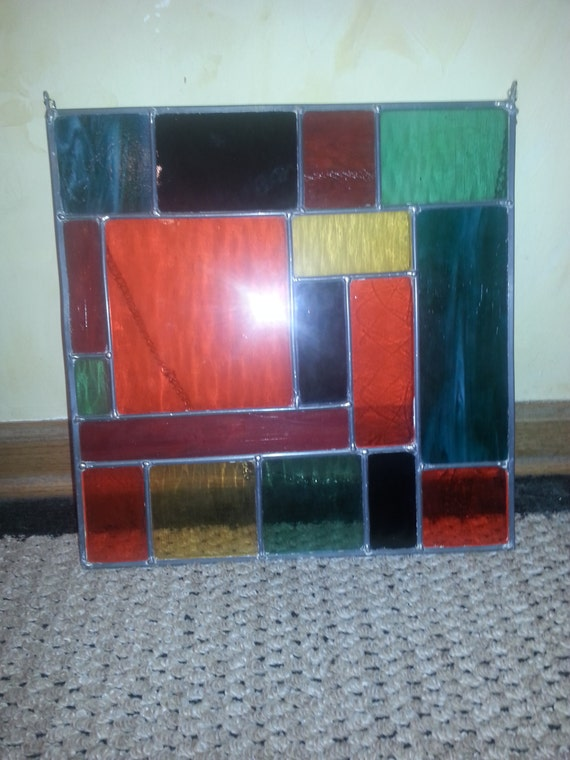 REDUCED!! Antique Multicolored Leaded Stain Glass Hanging Square Panel BEAUTIFUL!